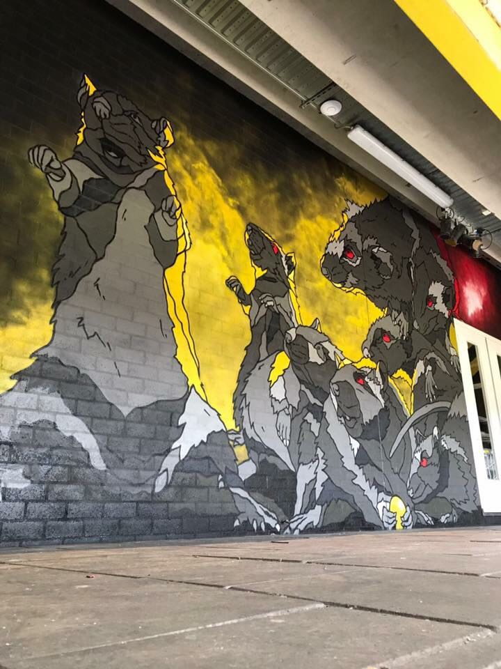 Rat-graffiti onder B-Side (2021)